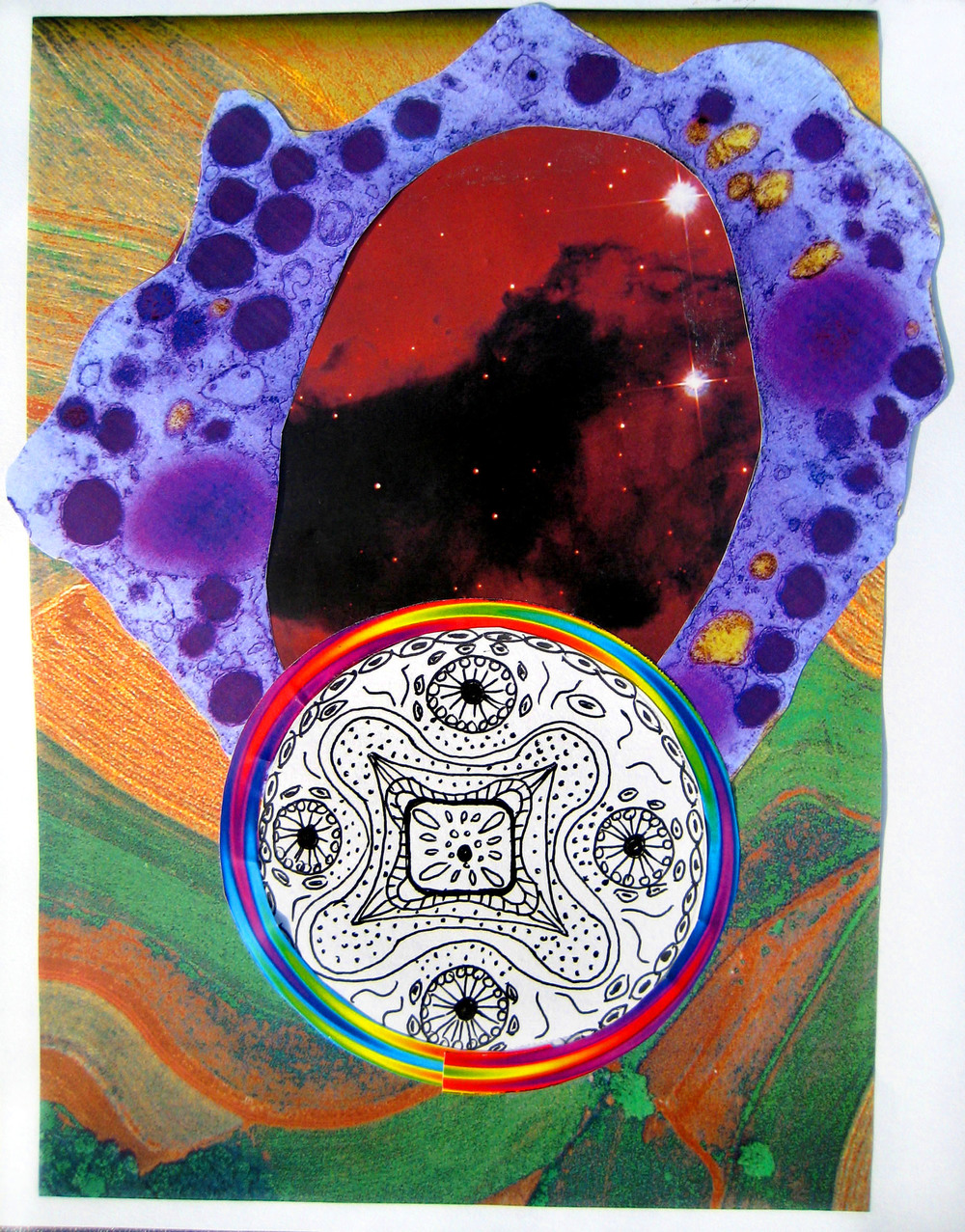"Rainbow Mandala, collage on paper, 8.5"" x 10.5"", 2008"