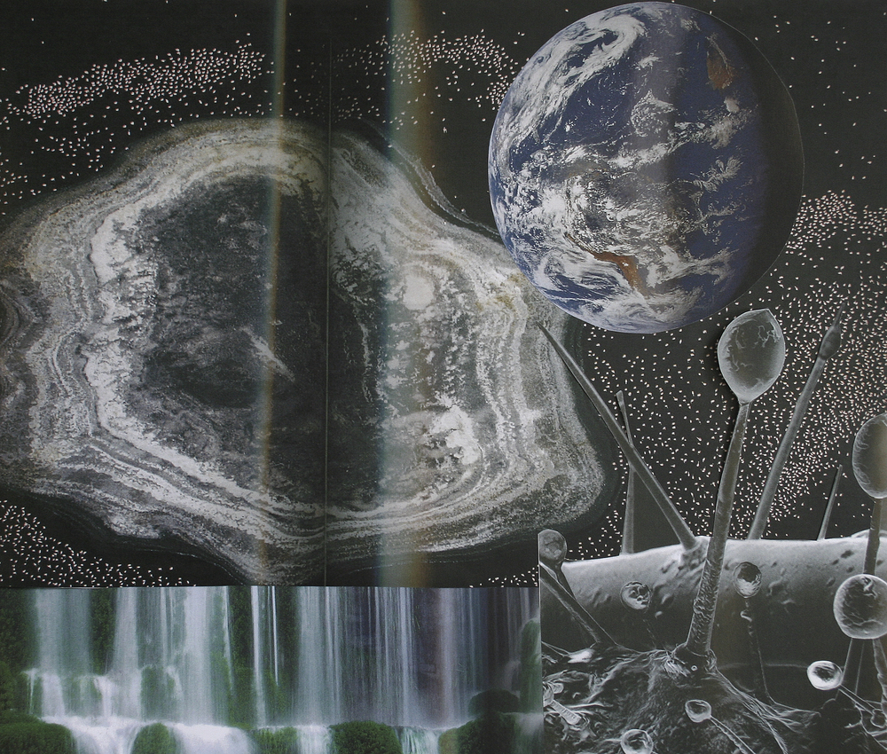 "Dust Surrounds Us, collage on paper, 14"" x 16.5"", 2007"