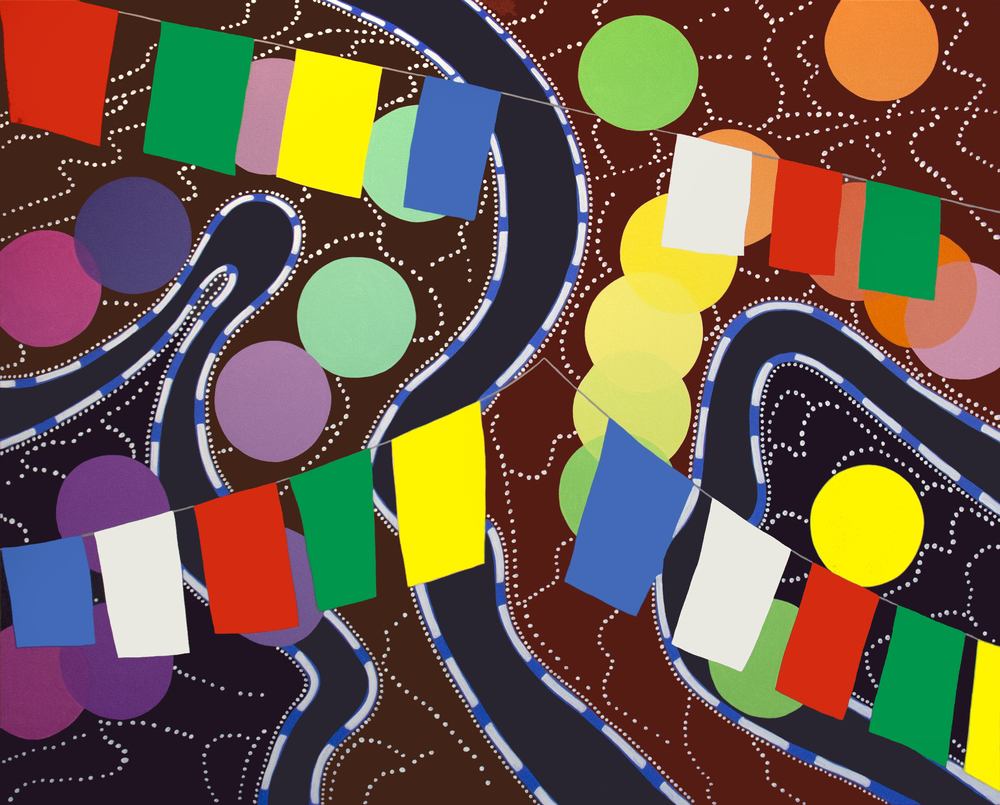 "Twisting Roads, acrylic on canvas, 48"" x 60"", 2015"