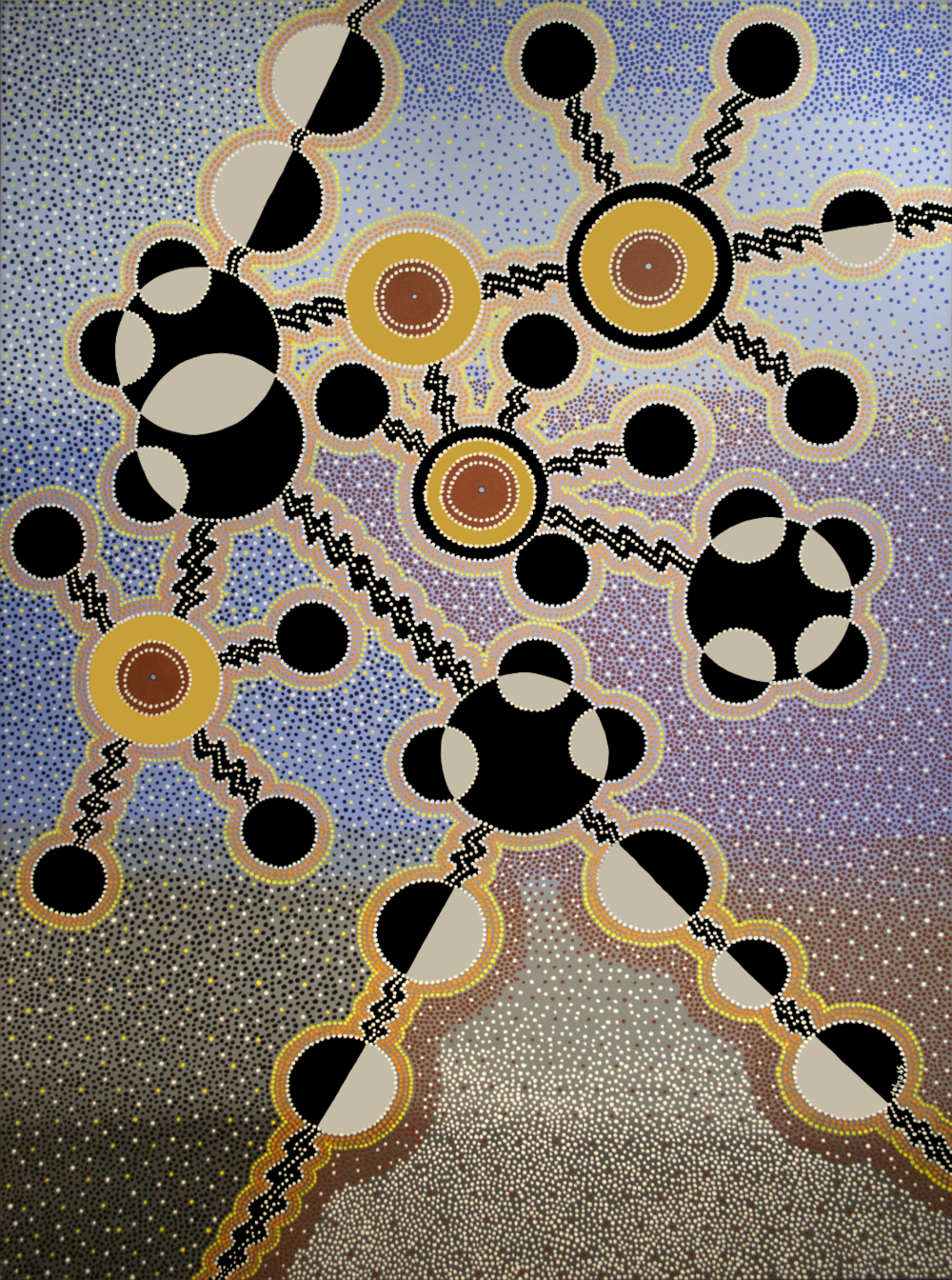"Homage to Miró, Zen Dot, acrylic on canvas, 84"" x 60"", 2001"