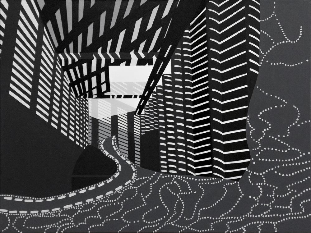 "Lattice Cave, acrylic on canvas, 36""x 48"", 2016"