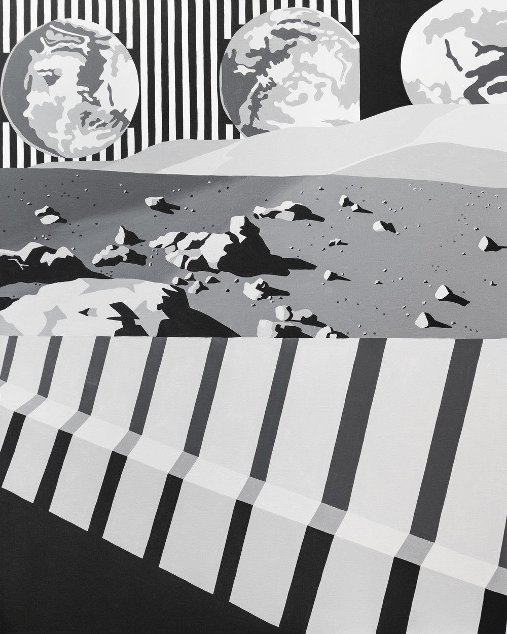 """Moon Shadows, acrylic on canvas, 48""""x60"""", 2017"""