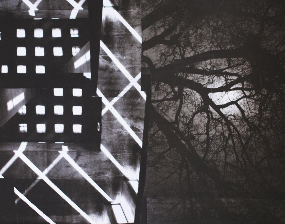Lit Doom, collage on paper
