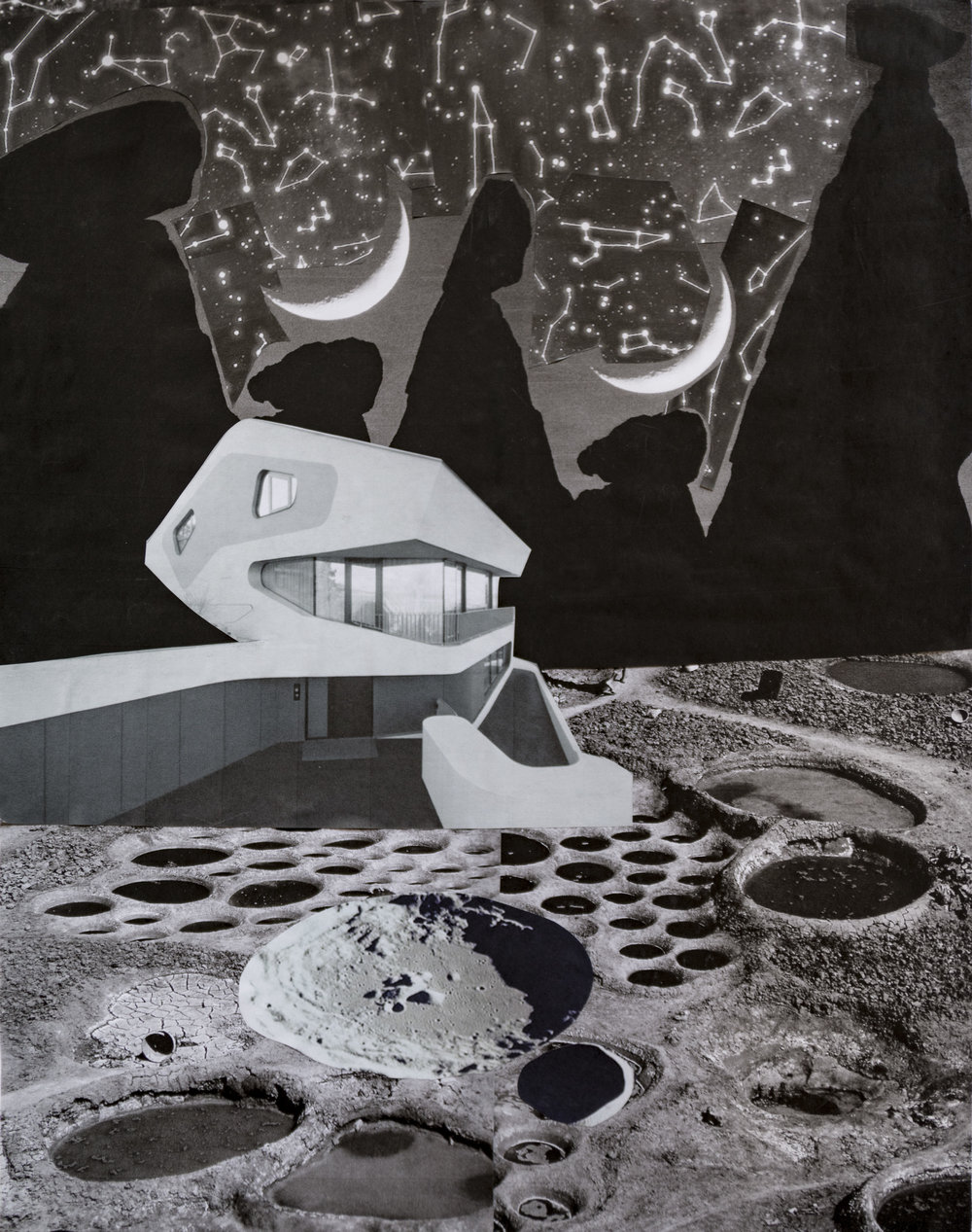 "Lunar Station, collage on paper, 15"" x 19,"" 2016"