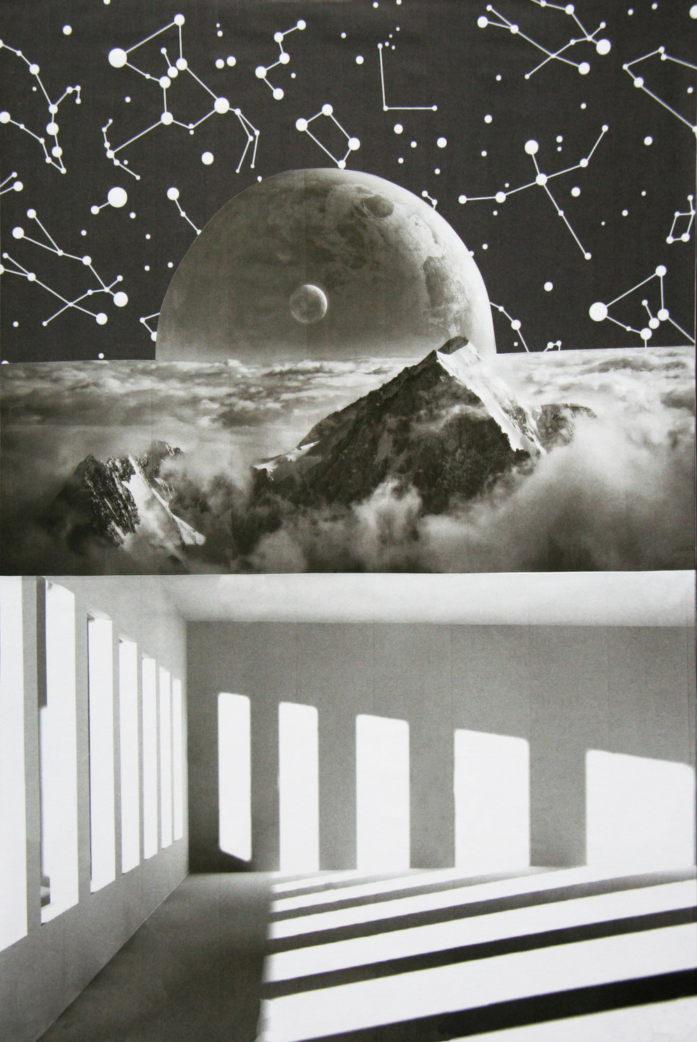 "Room with a View, collage on paper, 10"" x 14.5,"" 2016"