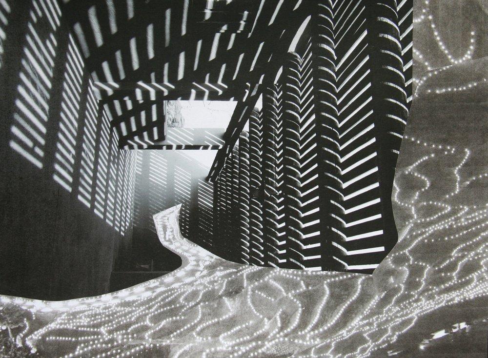 Lattice Cave, collage on paper