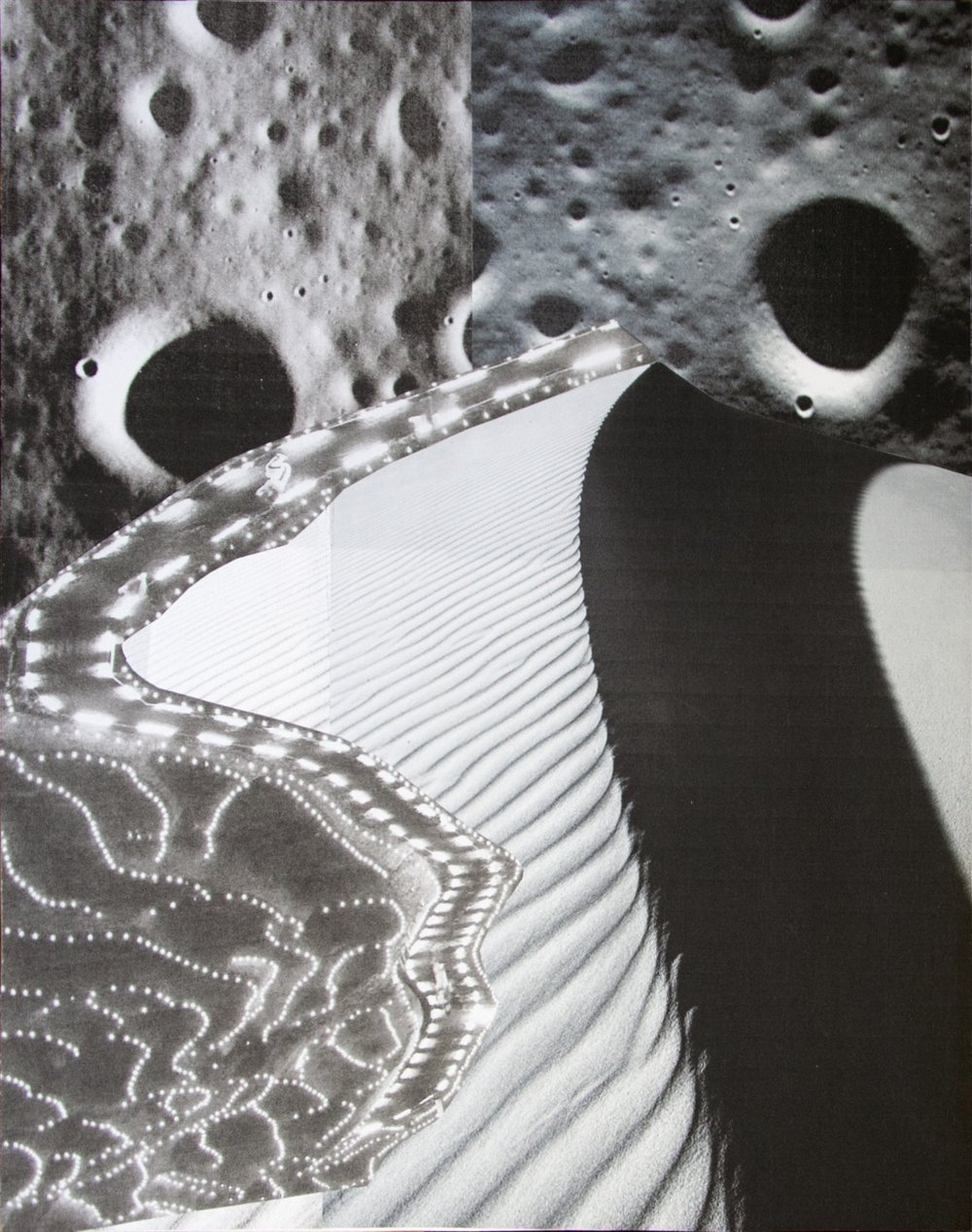 Lunar Dune, collage on paper