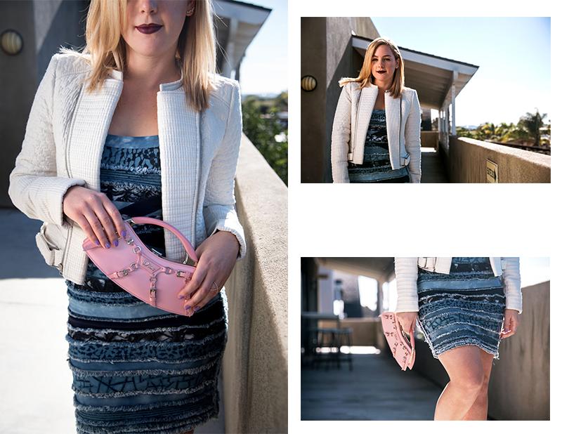 Herve Leger Dress, BCBG Jacket, Dior Bag