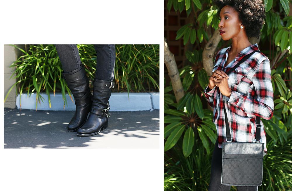 Dior Moto Boots, Romeo & Juliet Couture Flannel, Gucci Purse, Guess Denim