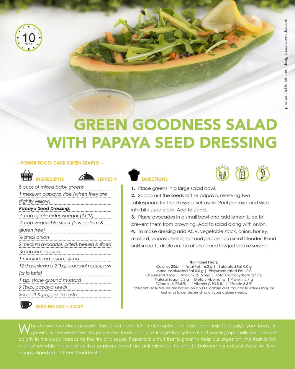 GREEN GOODNESS SALAD WITH PAPAYA SEED DRESSING