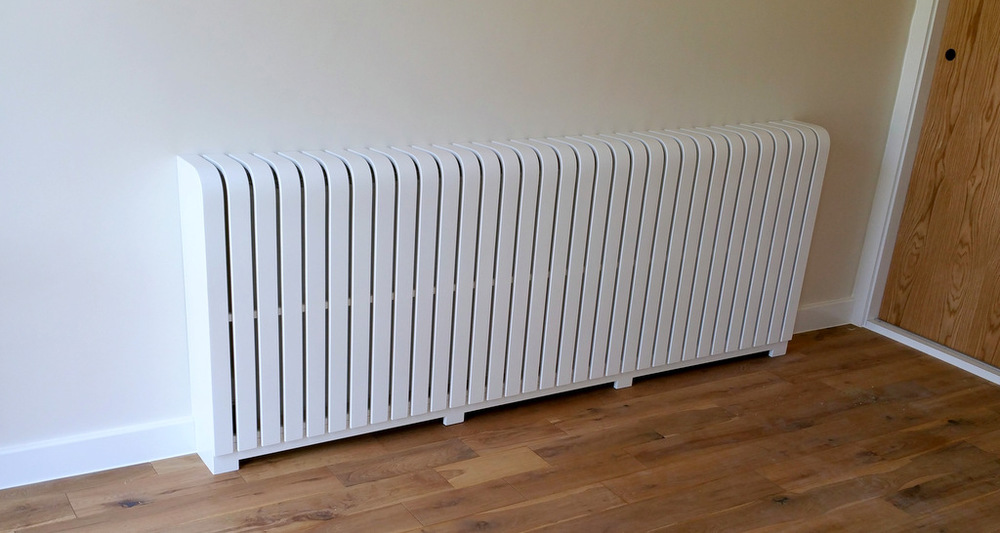 White floor standing painted radiator cover