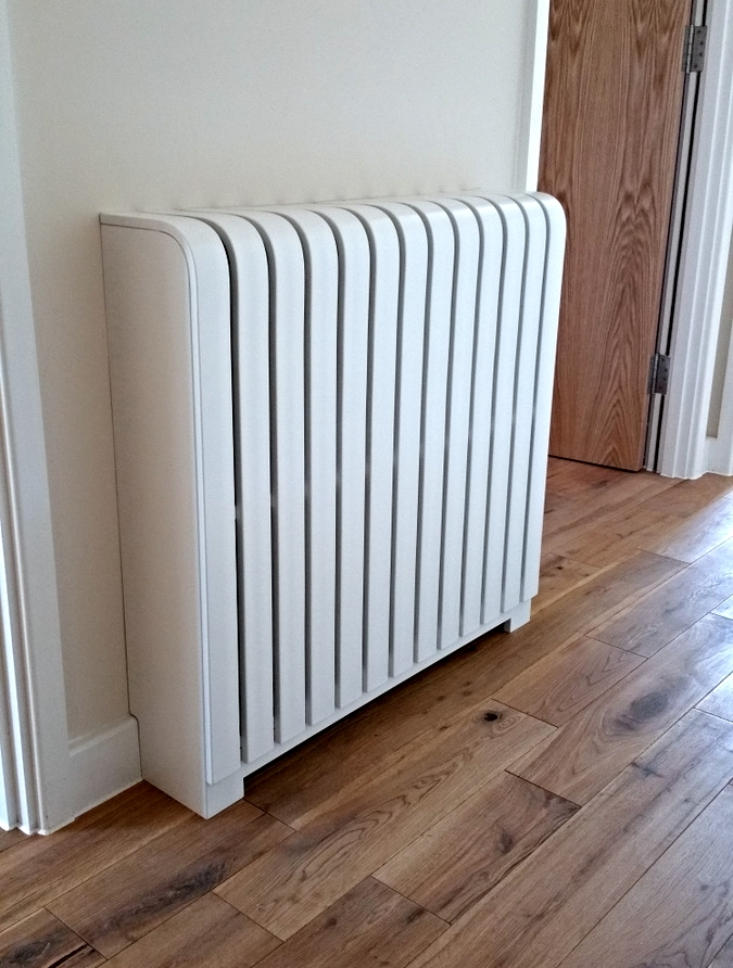 Brilliant white satin radiator cover
