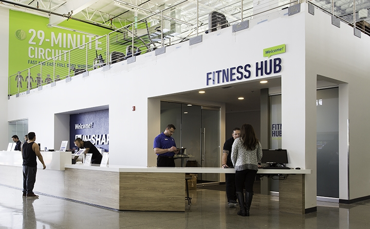 "Developed identity for In-Shape ""Fitness Hub"" destination. The objective was to create an engaging and approachable place where members and In-Shape staff can interact in a casual, easy manner. At the Fitness Hub, members can learn all about the club amenities and services, sign up for personal training, and ask questions. This concept is currently being rolled out in all their club locations."