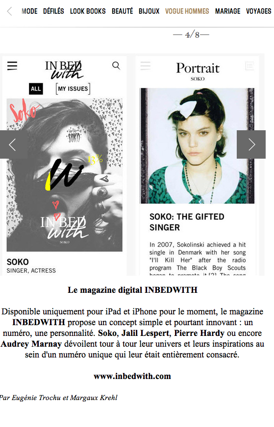 french vogue highlights new magazine IN BED WITH including the debut cover with soko. all artwork for the premiere covers created by curtis kulig. stay tuned for jalil lespert, pierre hardy & others to come along with an exclusive print debut in paris. see it here http://www.vogue.fr/mode/experiences-digitales/diaporama/experiences-digitales-semaine-du-10-mars/17923/image/987164#!le-magazine-digital-inbedwith
