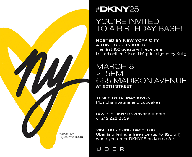 come meet curtis tomorrow at #DNKY25 birthday bash. saturday march 8th 2PM - 5PM 655 madison avenue cross: 60th street djing by may kwok cupcakes, champagne & exclusive 'Heart NY' prints for the first 100 guests please RSVP dknyrsvp@dkintl.com