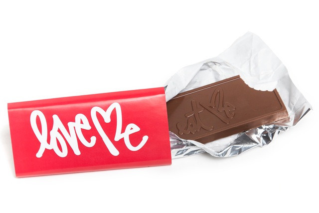 sweet treats at the sweet shop. curtis' 'love me / eat me' milk chocolate bar just in time for valentines!  get it in the shop before its gone  http://www.lovemeishere.com/collections/featured-products/products/chocolate-bar