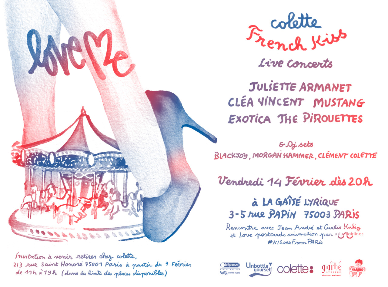 curtis x colette!!!! see you in paris on february 14th. curtis at the shop from 5-6:30pm. party begins at 8pm. invitations available at colette.