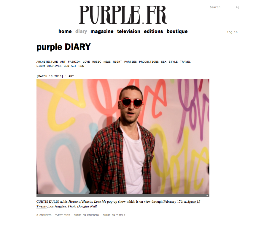Curtis / Purple Diary http://purple.fr/diary/entry/curtis-kulig-at-his-house-of-hearts-love-me-nbsp-pop-up-show-at-space-15-twenty-los-angeles-photo-douglas-neill