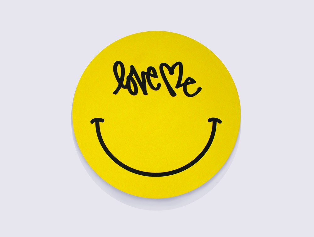 "LOVE ME SMILEY.  Silkscreen on Wood.  2014. 24"" x 24"" x 2"""