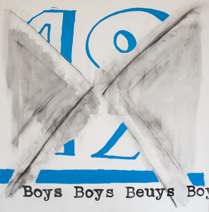 Boys Boys Beuys,  2014  acrylic and charcoal on canvas  48 x 48 inches