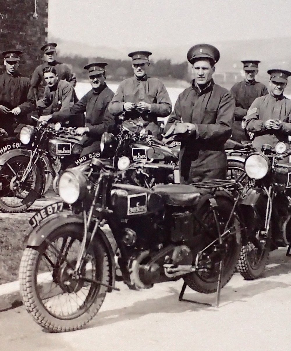 """The band was to form the Regimental motor-cyclist troop. But, when nineteen new motor-cycles arrived, there were no instructors available. Each bandsman, therefore, was told that he was to be given a motorcycle as a birthday present. The official handbooks and instructions were issued and dates laid down on which tests and inspections would be carried out. The bandsmen were instructed to find for themselves ways and means of learning to ride and maintain their motor-cycles."" Miller, Major-General Charles H., History of the 13th/18th Hussars (Queen Mary's Own) 1922-1947. Chisman Bradsaw Ltd, London 1949  -  James Albert George Nunn (Amelia's Grandfather), shown fifth from left"