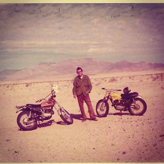 My father in the desert with his 1978 Yamaha YZ400.