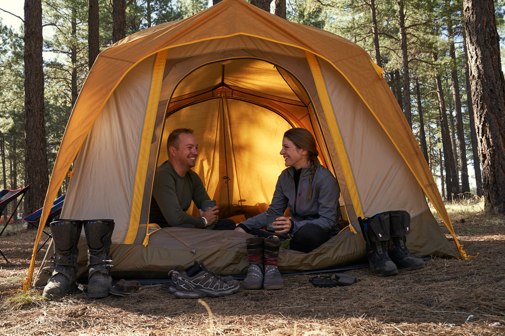 Our moto camp tent for Overland Photo taken by Chris Hinkle
