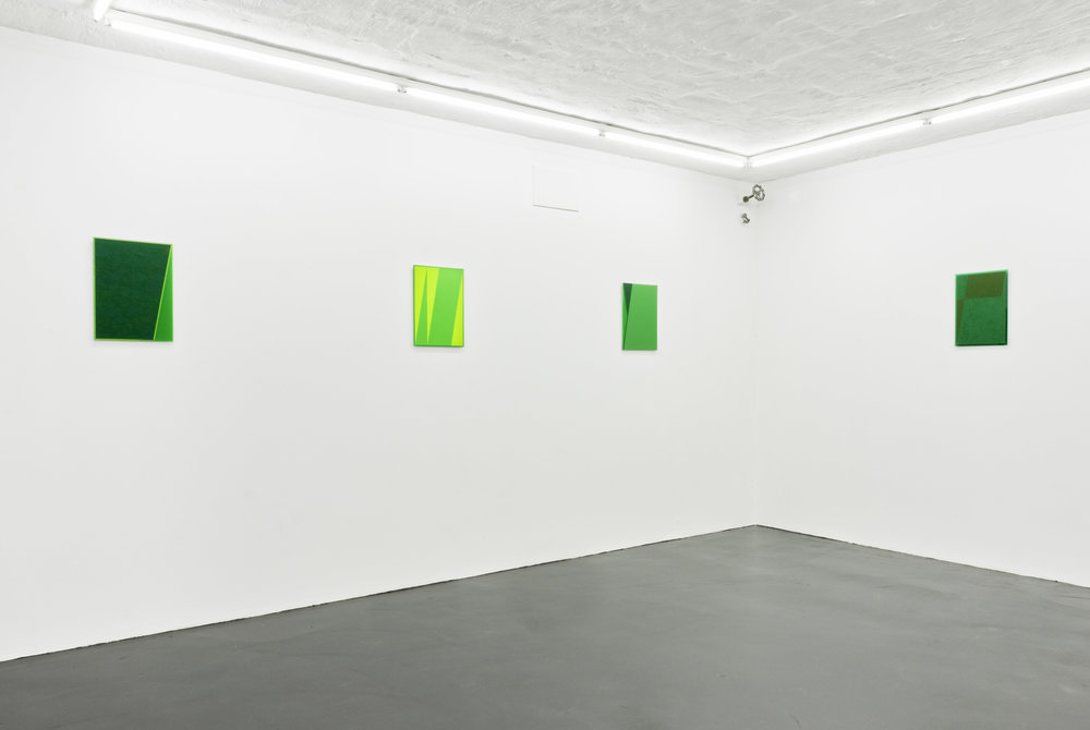 The Green Series  Acylic and oil on green perspex 42 x 29,7 cm