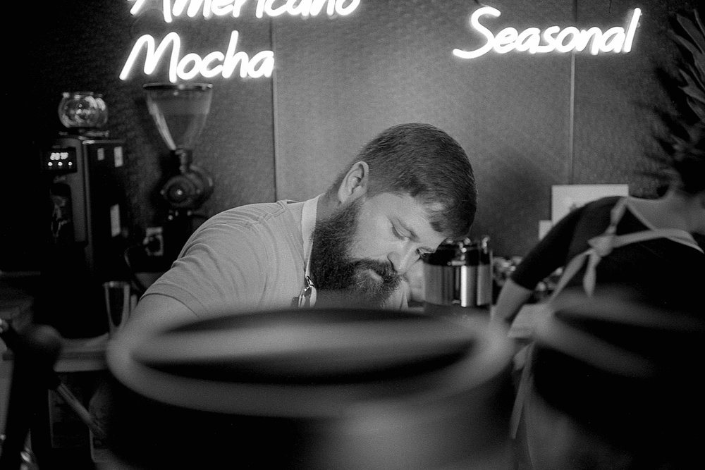 Matt Pittman / Offbeat Coffee Studio / Huntsville, Alabama / Leica M7 / Ilford HP5