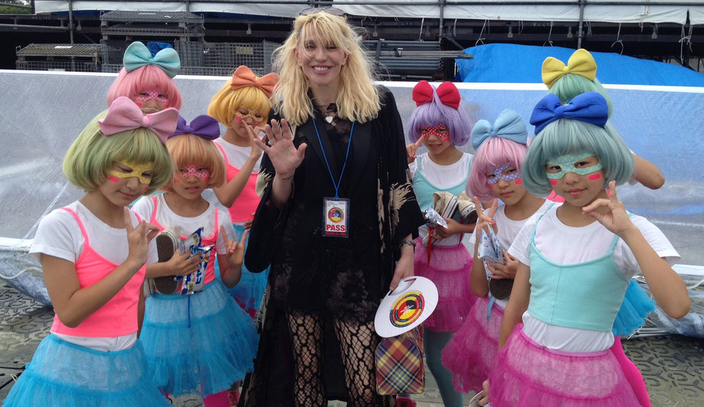 Princess Ai herself, Courtney Love, with Kyary Pamyu Pamyu's youthful dance team.