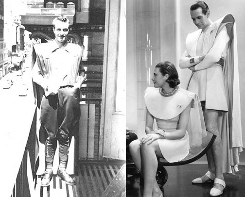 Forrest J. Ackerman in his futuristicostume (r) based on the 1936 sci-fi film, Things to Come. Images courtesy: Yahoo! and DVD Talk