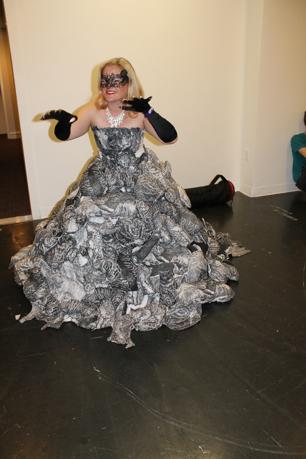 This gorgeous gown was a runner up. It's made completely with stuffed toy kitties.