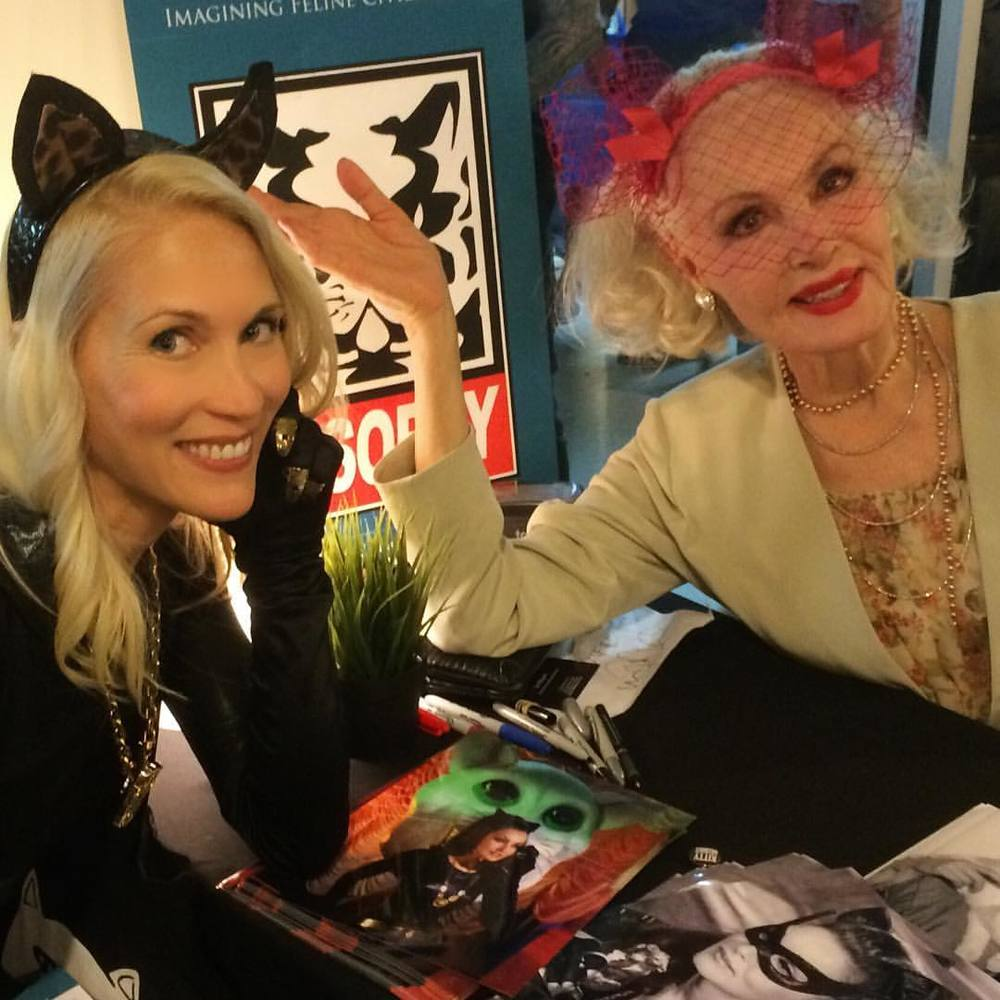 Amy Raasch meets Julie Newmar. Photo courtesy Amy Raasch.