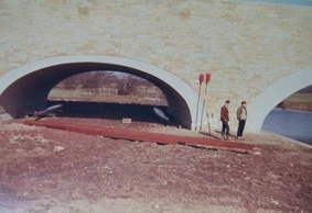 Godfrey Bishop & Dave Hitt with the first UWBC Boats & 'boathouse' (1967-68)