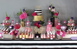 Want more than just candy? Our combo table is the most popular selection which includes a beautiful selection of delicious single serve desserts that will make your guests giggle with glee plus the fun of a candy buffet all in one!