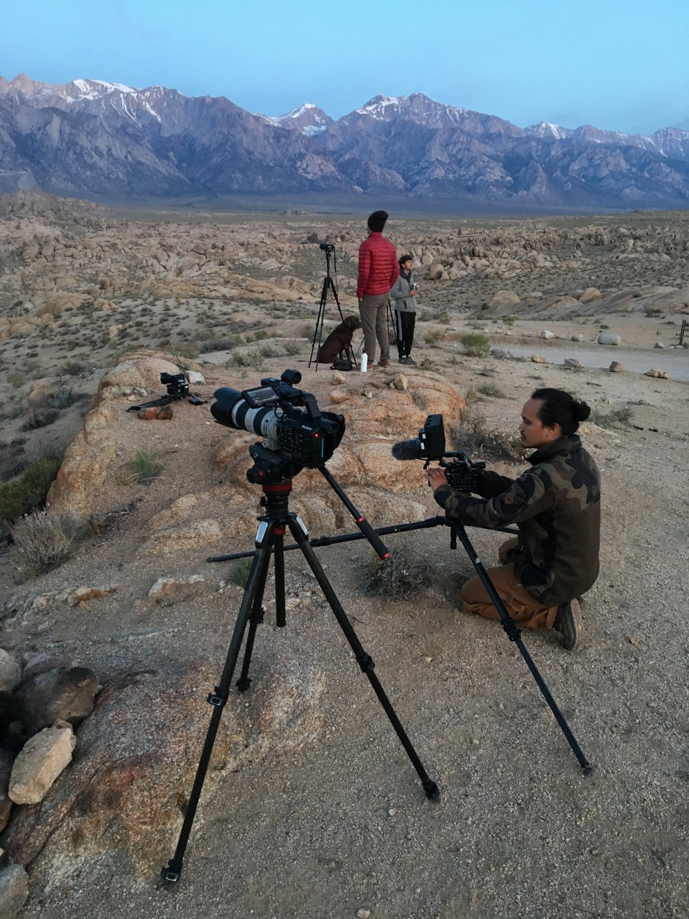 Setting up to shoot the iconic sunrise of Movie Road going into the Sierra's.