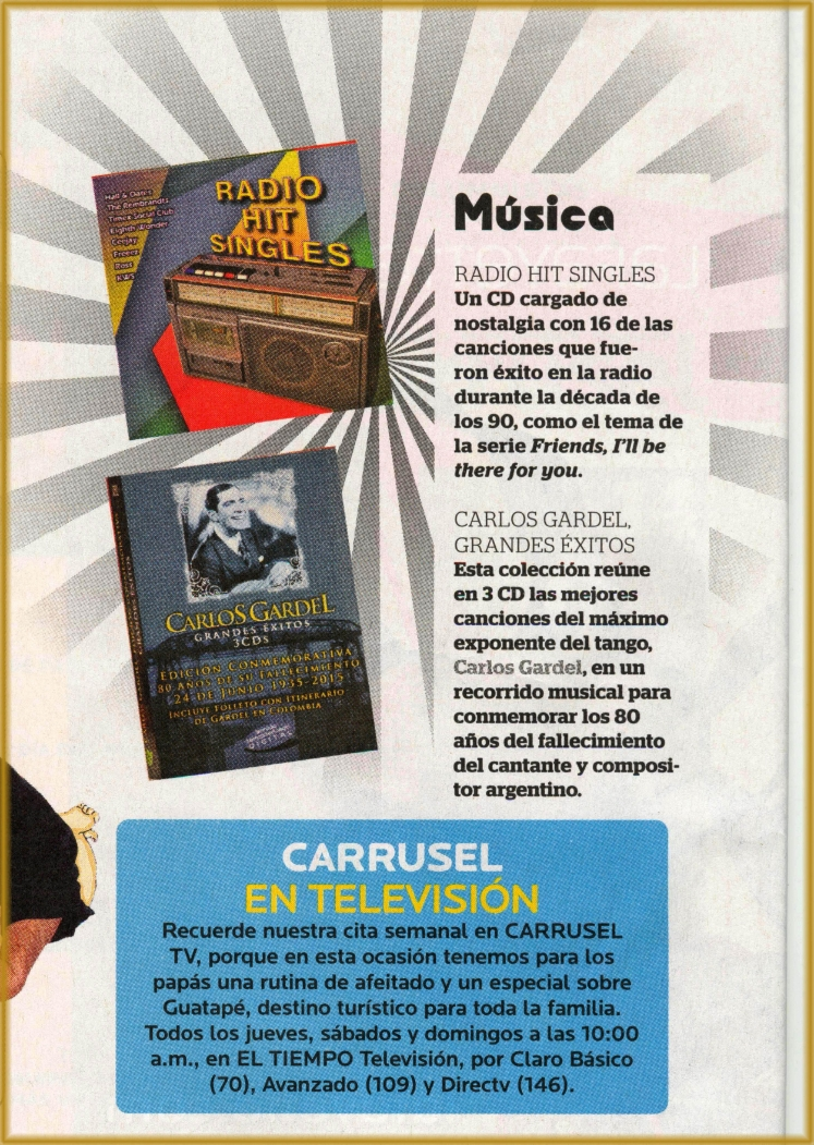 Radio Hit Singles y Carlos Gardel en Revista Carrusel Junio 18, 2015
