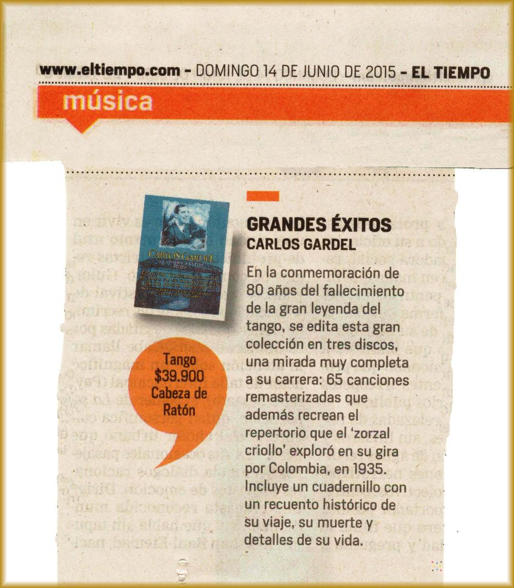 Carlos Gardel Grandes Exitos_Edición 80 años- El Tiempo Junio 14, 2015.jpg