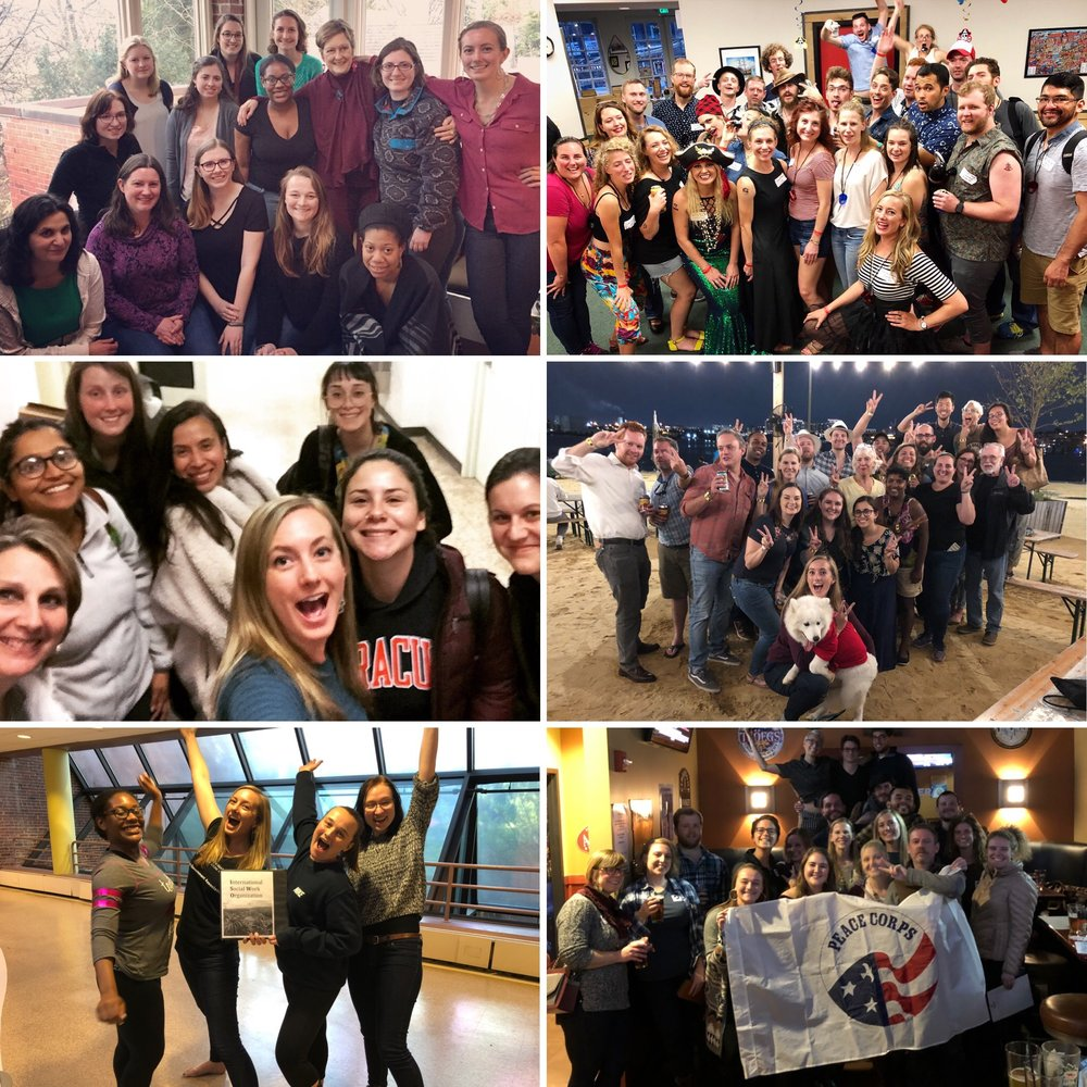 Leadership roles within the International Social Work Organization at UMB and within the Returned Peace Corps Volunteer community in Baltimore, Maryland.