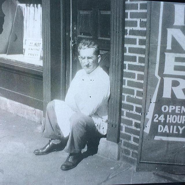 My grandpa. Nick the Greek. Three generations later.... It's in the blood😊 Love it, love it, love it!!#bellascafe