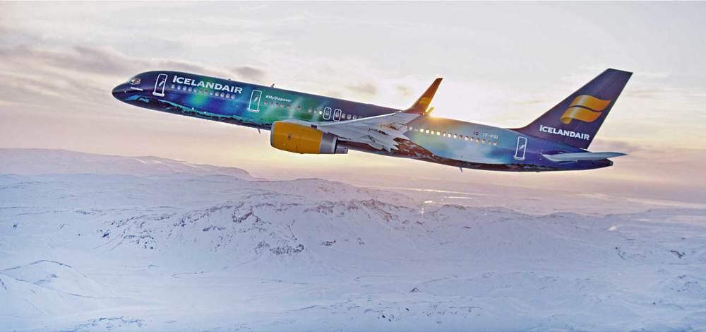 Hekla Aurora. Painted to resemble the Northern Lights (Photo: Icelandair)