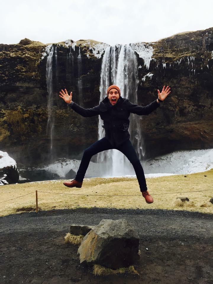 Hyped at the Seljalandsfoss waterfall