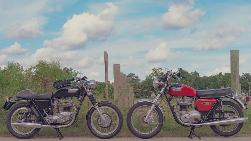LEFT: LARRY - 1973 TRIUMPH BONNEVILLE | RIGHT: GEORGE - 1979 TRIUMPH BONNEVILLE