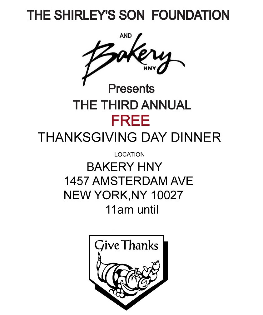 Please join us as we give thanks @ Bakery Hny Feeding those who are in need Thanksgiving day.