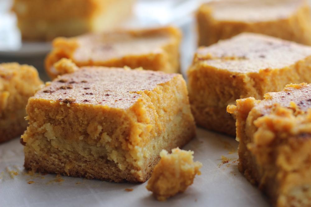 Gooey pumpkin pie meets yellow cake crust. Yep, it's true.