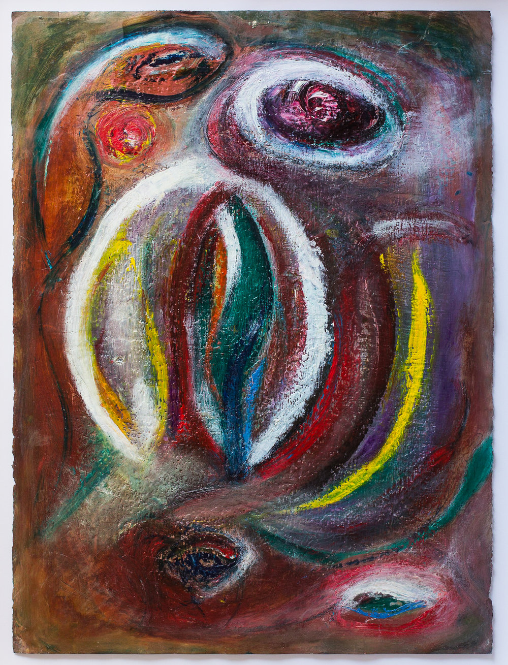 Snake eyes the apple, oil & beeswax arches paper, 71 x 90cm.