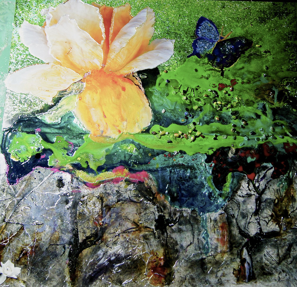 Profusion of green and one flower, acrylic/mixed media /photo montage, 75 x 75cm.