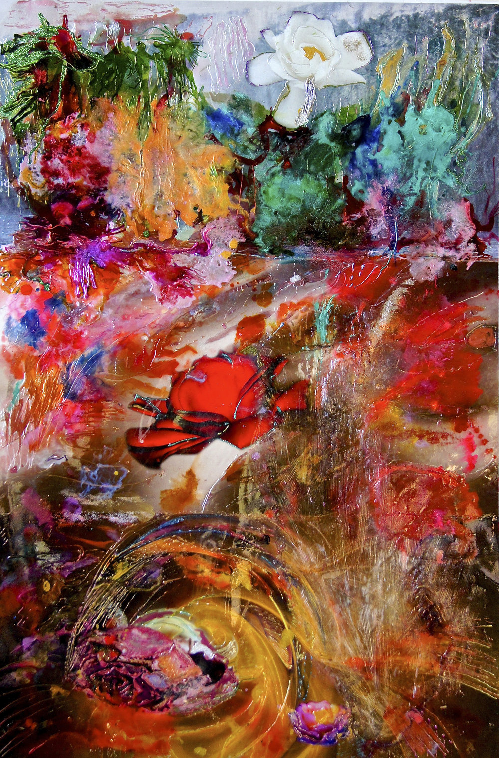 Cascades of abundance, acrylic/mixed media /photo montage. 65 x 90cm sold