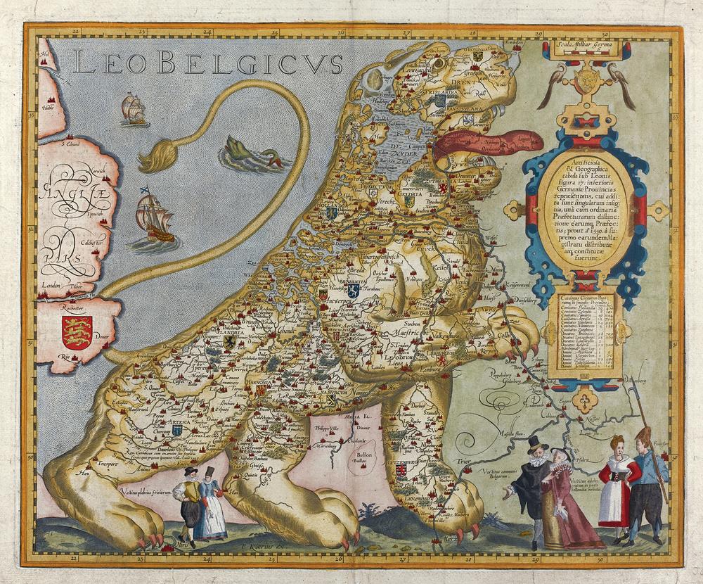 Pieter van der Keere - Leo Belgicus (1617)