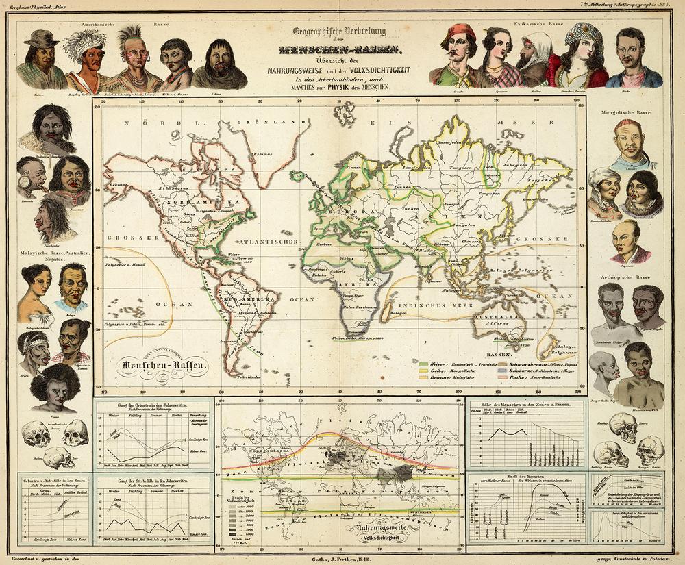 Heinrich Berghaus - Geographische Verbreitung der Menschen-Rassen (1848)